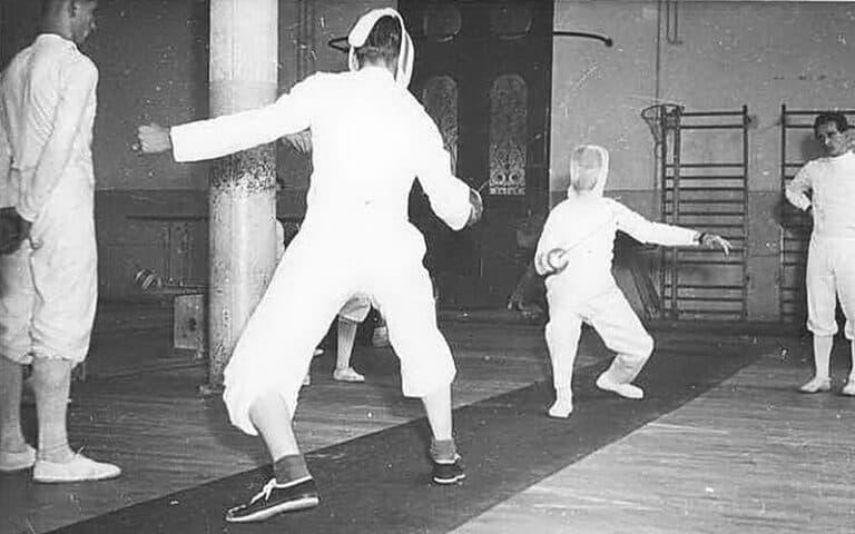 Rudi Reitz im Gefecht hinten – 1953 in Zweibrücken