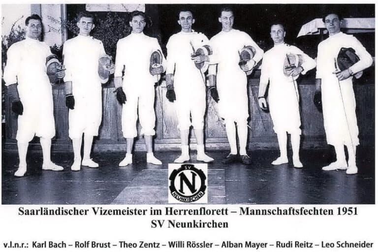 Die Herrenflorettmannschaft des SV Neunkirchen am 22.04.1951 im Bergmannsheim in Neunkirchen